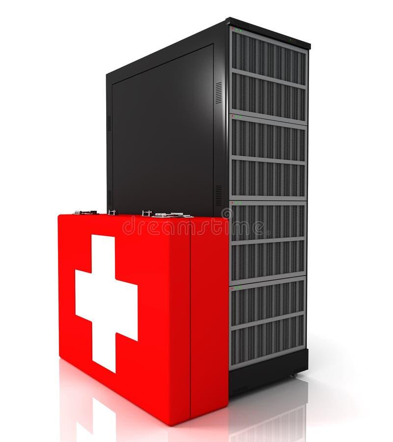 Scaffale del server e cassetta di pronto soccorso royalty illustrazione gratis