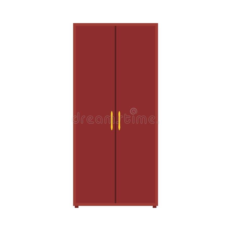Scaffale della mobilia dell'icona di vettore del gabinetto del guardaroba Copra lo stoccaggio interno del fumetto del gabinetto C royalty illustrazione gratis
