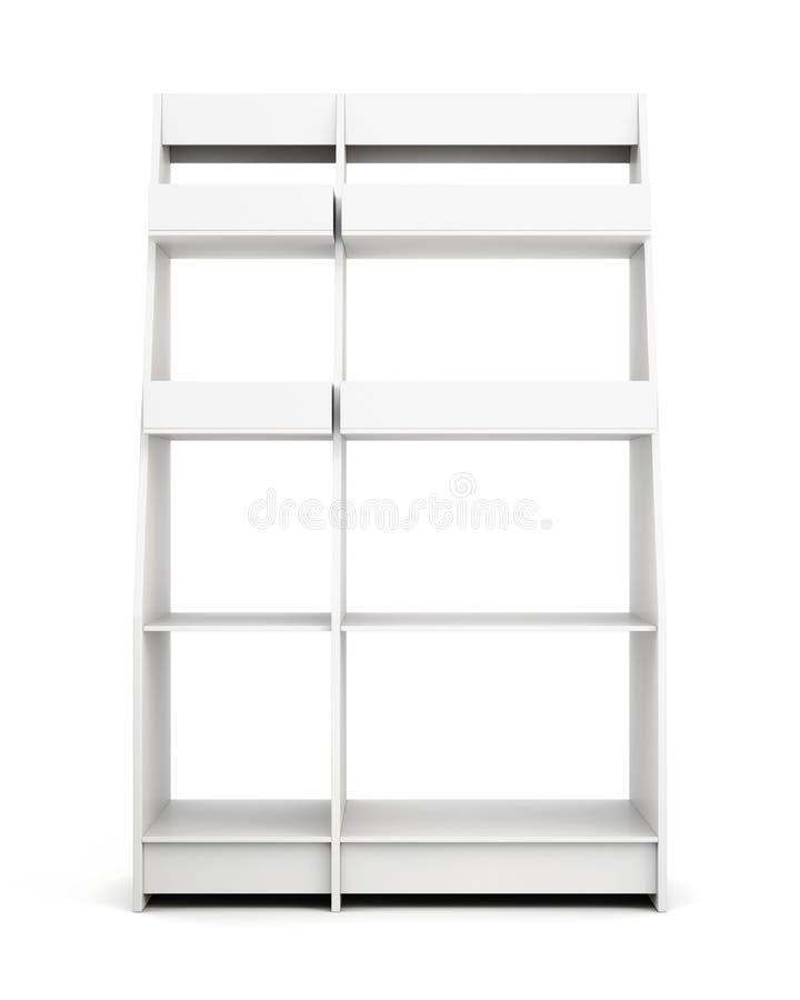 Scaffale di esposizione con gli scaffali isolati su fondo bianco Parte anteriore vi illustrazione di stock