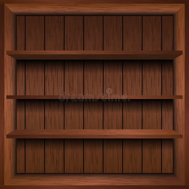 Scaffale di legno in bianco illustrazione di stock
