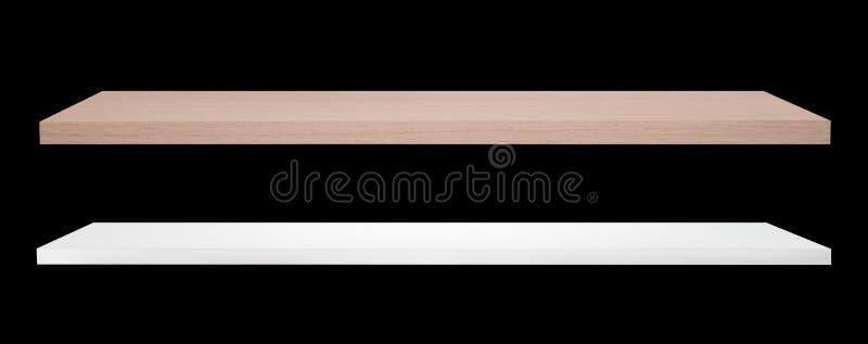 Scaffale di legno di colore bianco e marrone immagine stock