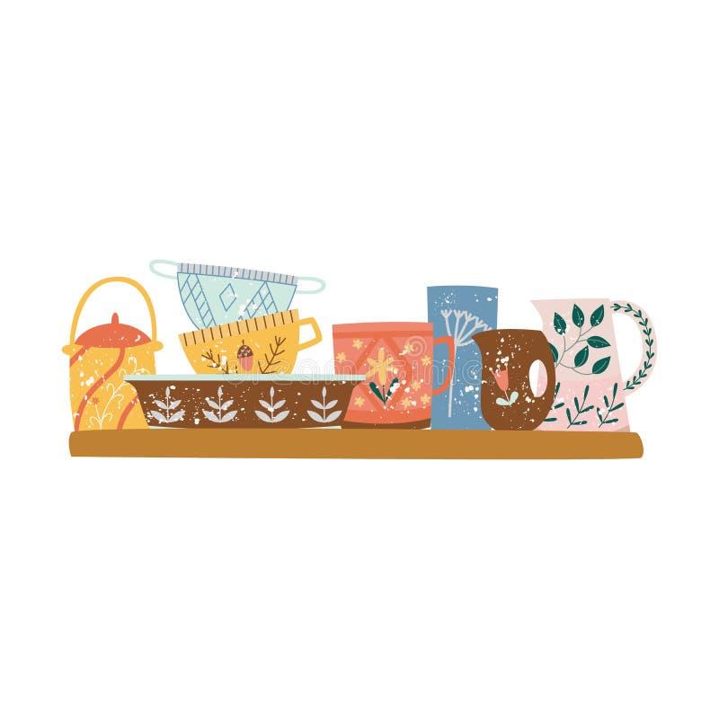 Scaffale di legno con stile piano del fumetto delle stoviglie ceramiche o delle terrecotte illustrazione vettoriale