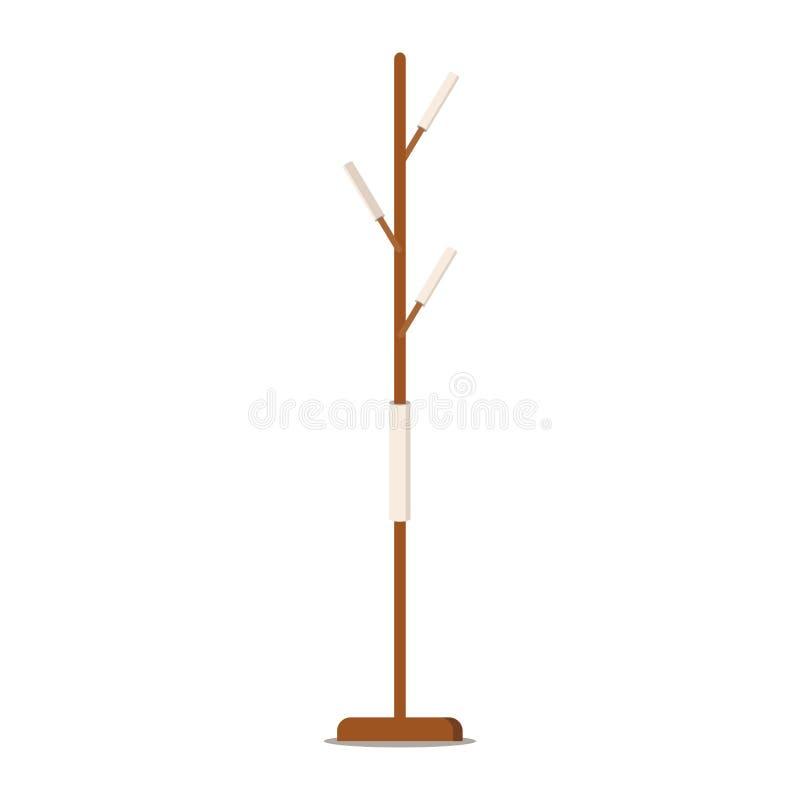 Scaffale di legno del cappotto del pavimento - gancio per i cothes o gli asciugamani royalty illustrazione gratis