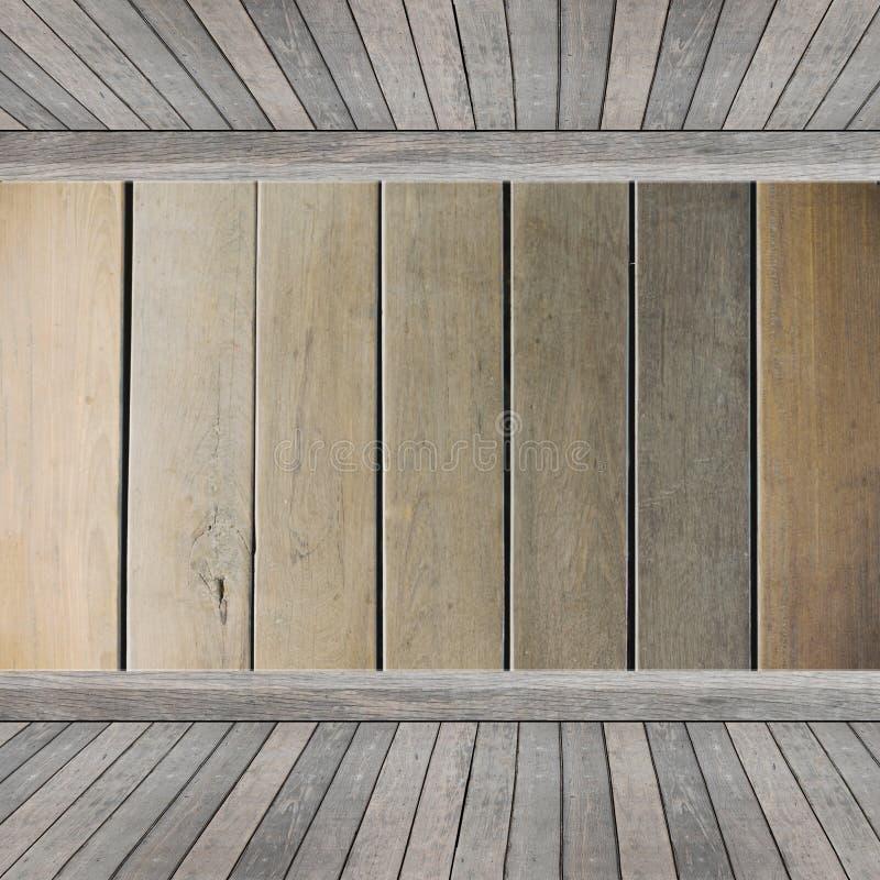 Scaffale di legno per fondo Fondo per il concetto dell'esposizione del prodotto fotografia stock