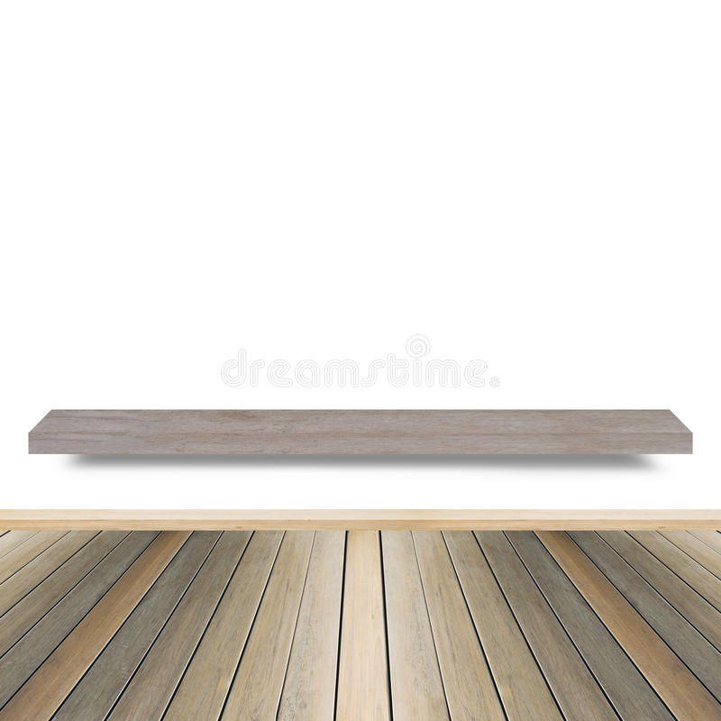 Scaffale di legno per fondo Fondo per il concetto dell'esposizione del prodotto immagini stock
