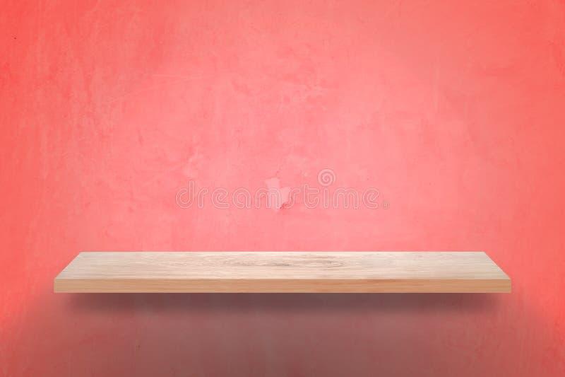 Scaffale di legno vuoto con il fondo della parete di rosa di lerciume fotografia stock libera da diritti