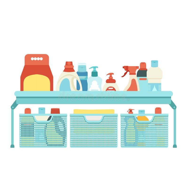 Scaffale e scatole di plastica con i prodotti chimici di famiglia Mezzi per il lavaggio e pulire royalty illustrazione gratis