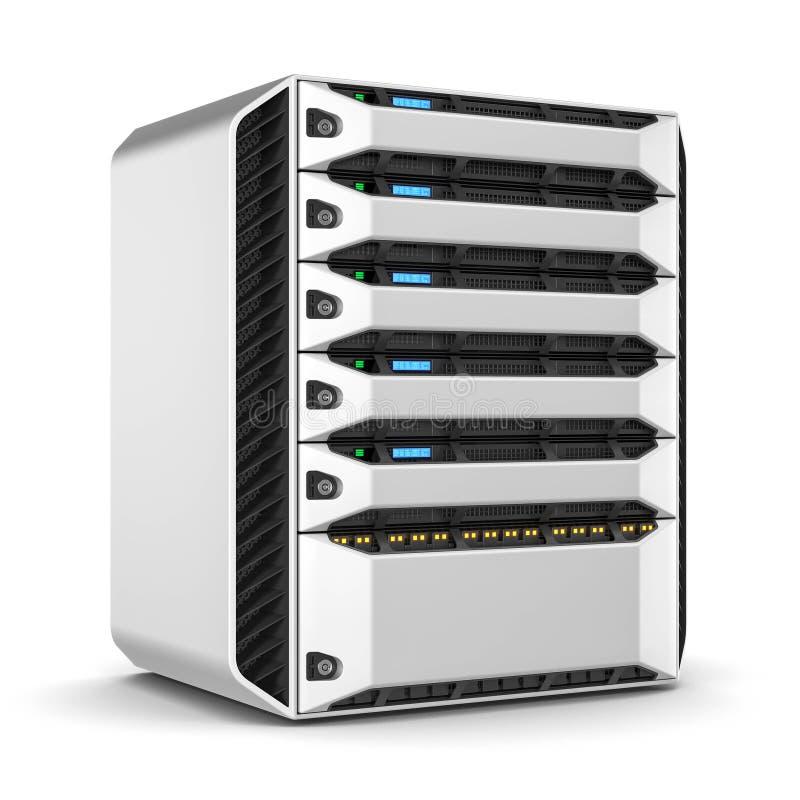 Scaffale moderno del server 3d rendono illustrazione vettoriale
