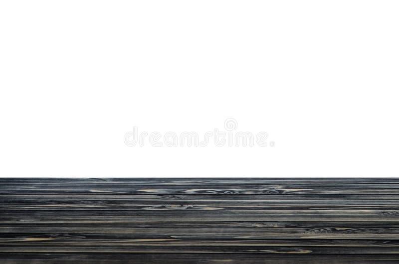 Scaffale o piano d'appoggio di legno nero fotografie stock