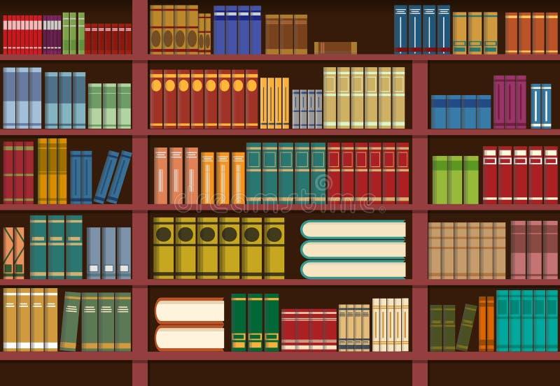 Scaffale per libri in biblioteca, illustrazione di conoscenza illustrazione di stock
