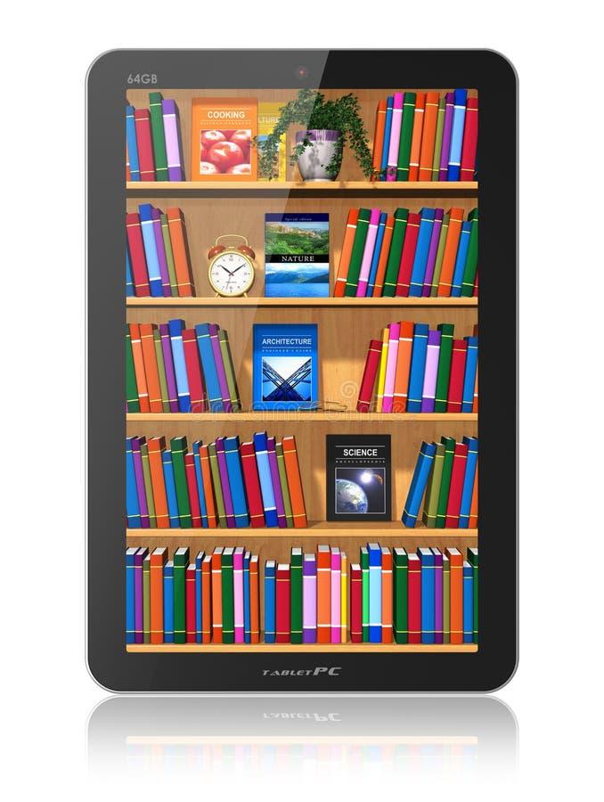 Scaffale per libri in calcolatore del ridurre in pani illustrazione vettoriale