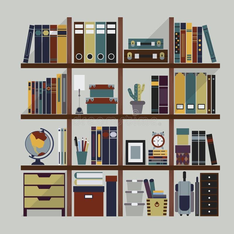 Scaffale per libri di legno con differenti oggetti illustrazione di stock
