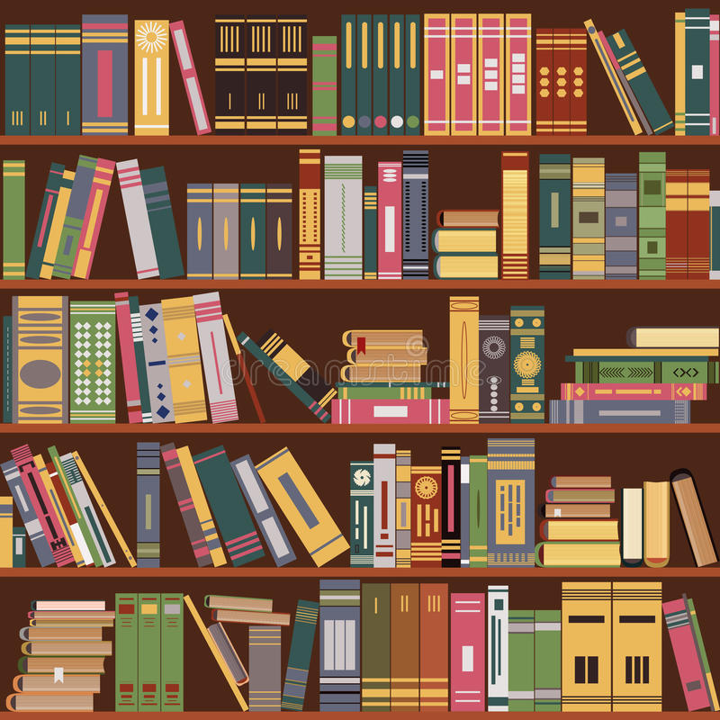 Scaffale per libri, libri, biblioteca illustrazione vettoriale