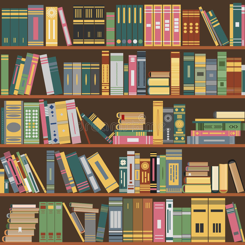 Scaffale per libri, libri, biblioteca, vettore illustrazione di stock