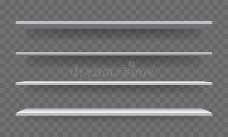 Scaffale per libri realistico vuoto bianco di vettore 3D dello scaffale illustrazione vettoriale