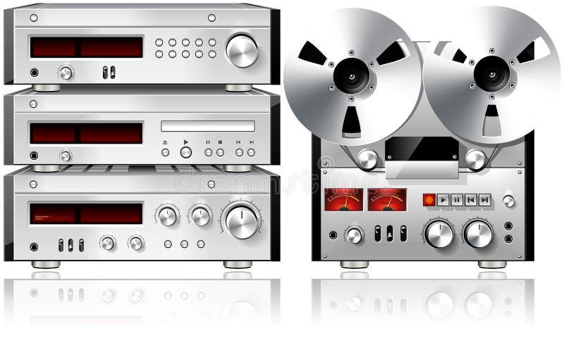 Scaffale stereo dell'annata delle componenti di musica analogica audio royalty illustrazione gratis