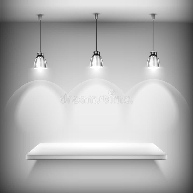 Scaffale vuoto bianco illuminato dai riflettori illustrazione vettoriale