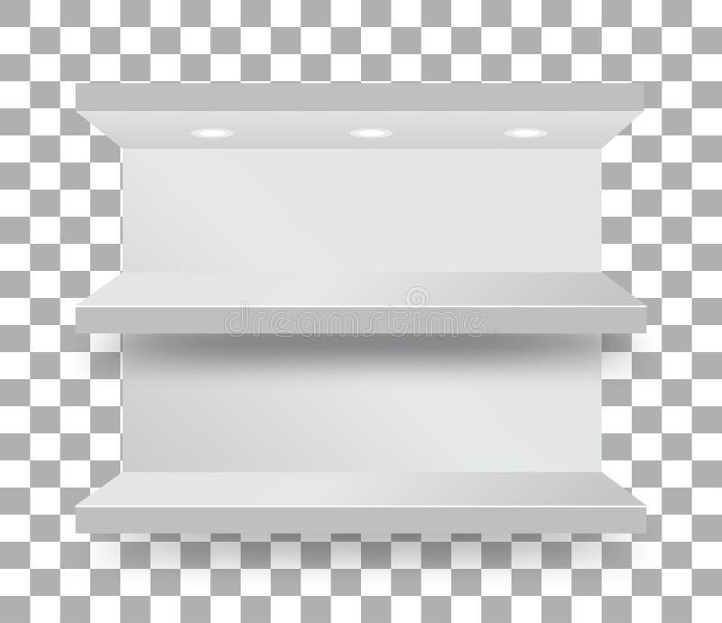 Scaffale vuoto della cuccetta in un supermercato su fondo a quadretti trasparente Vettore illustrazione di stock