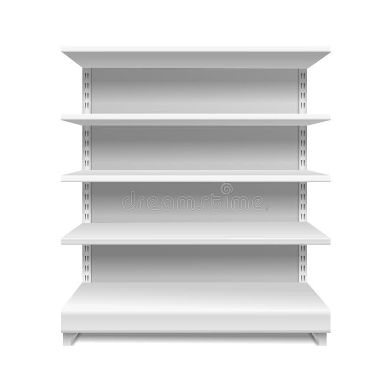 Scaffali bianchi del supermercato Modello isolato scaffale vuoto d'accantonamento 3d del deposito della vetrina degli scaffali de illustrazione vettoriale