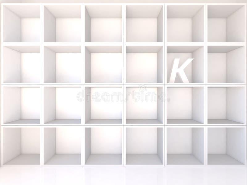 Scaffali bianchi vuoti con K royalty illustrazione gratis