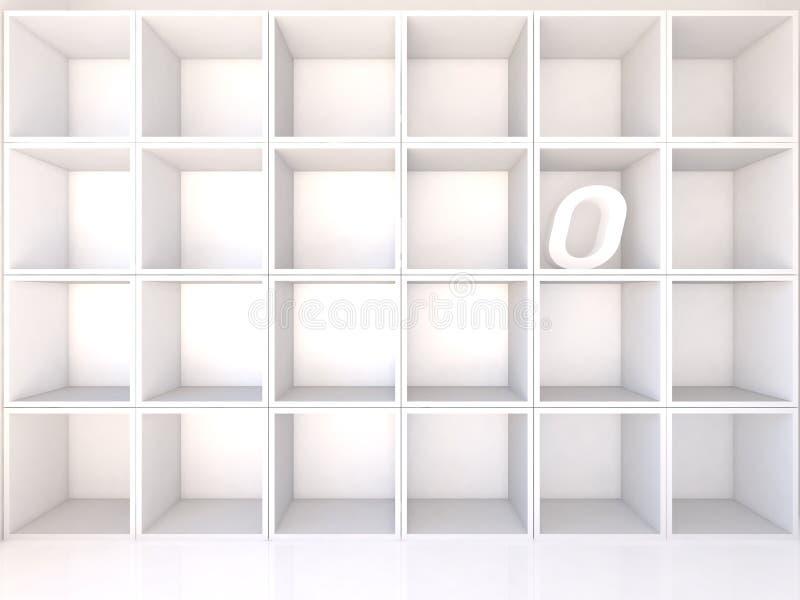 Scaffali bianchi vuoti con la O illustrazione di stock