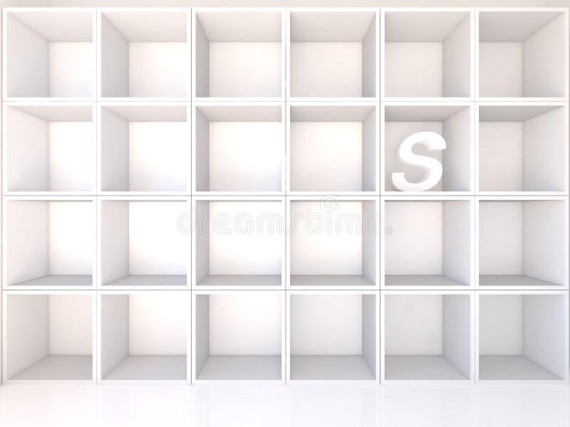 Scaffali bianchi vuoti con la S illustrazione di stock