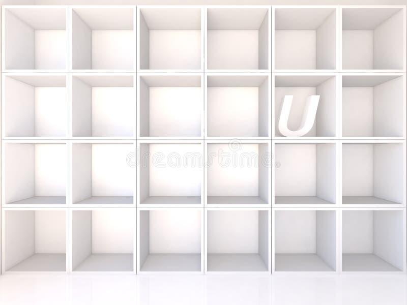 Scaffali bianchi vuoti con U royalty illustrazione gratis