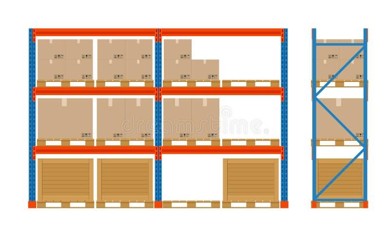 Scaffali del magazzino con le scatole Icona dell'attrezzatura di stoccaggio Vista laterale Vettore isolato su bianco Insieme dell illustrazione vettoriale