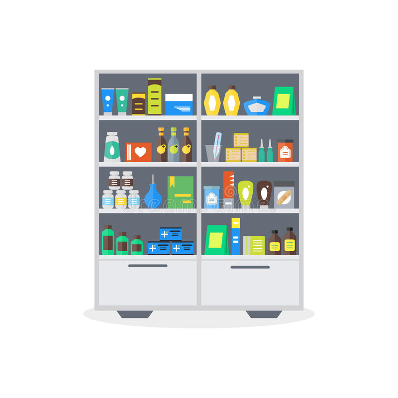 Scaffali della vetrina o del negozio della farmacia Vettore illustrazione vettoriale