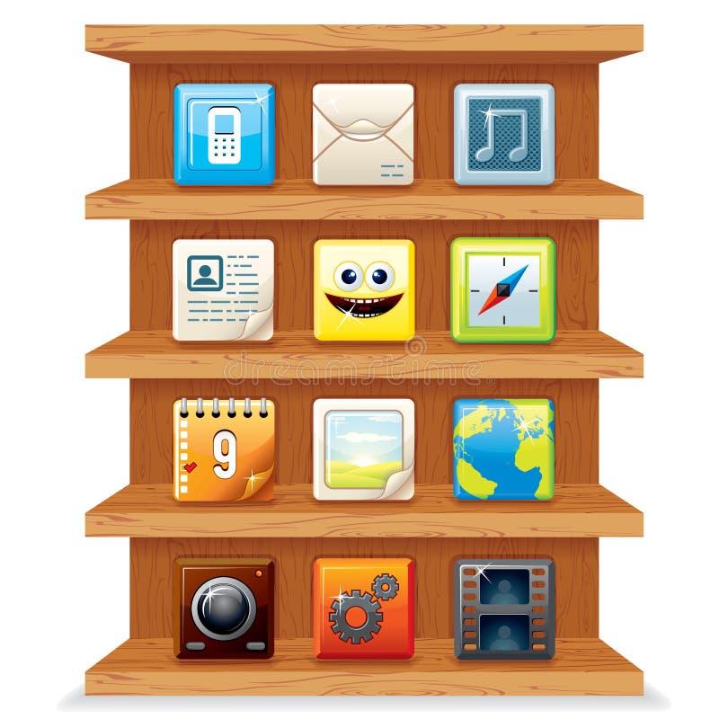 Scaffali di legno con le icone di Apps del computer. Vettore illustrazione di stock
