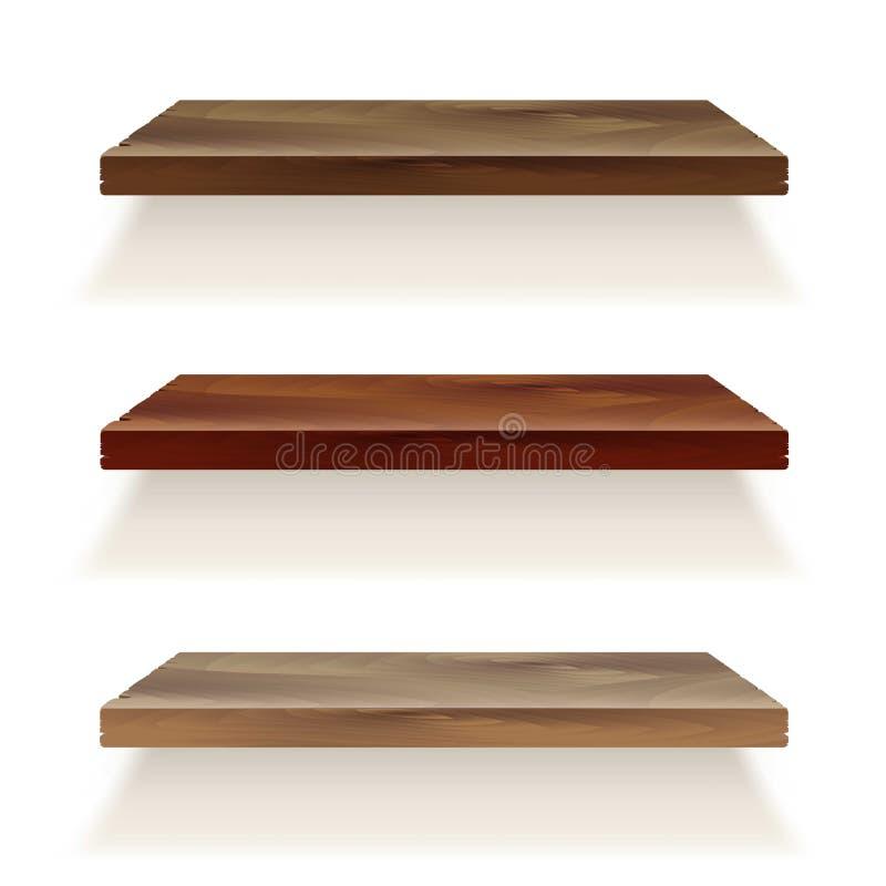 Scaffali di legno di legno vuoti dello scaffale sulla parete Backg immagini stock