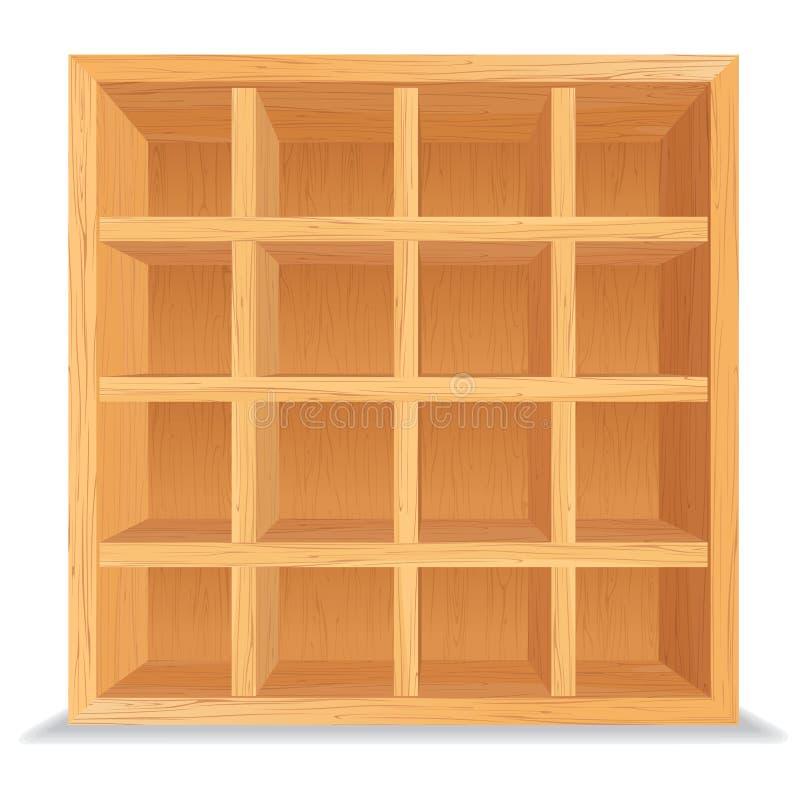 Scaffali di legno vuoti isolati sulla parete bianca royalty illustrazione gratis
