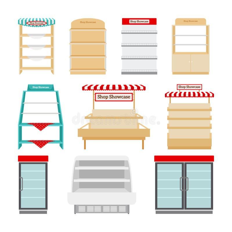 Scaffali di negozio o vetrine del negozio illustrazione vettoriale