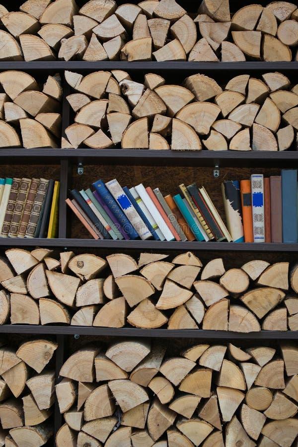 Scaffali per i libri e la legna da ardere fotografie stock