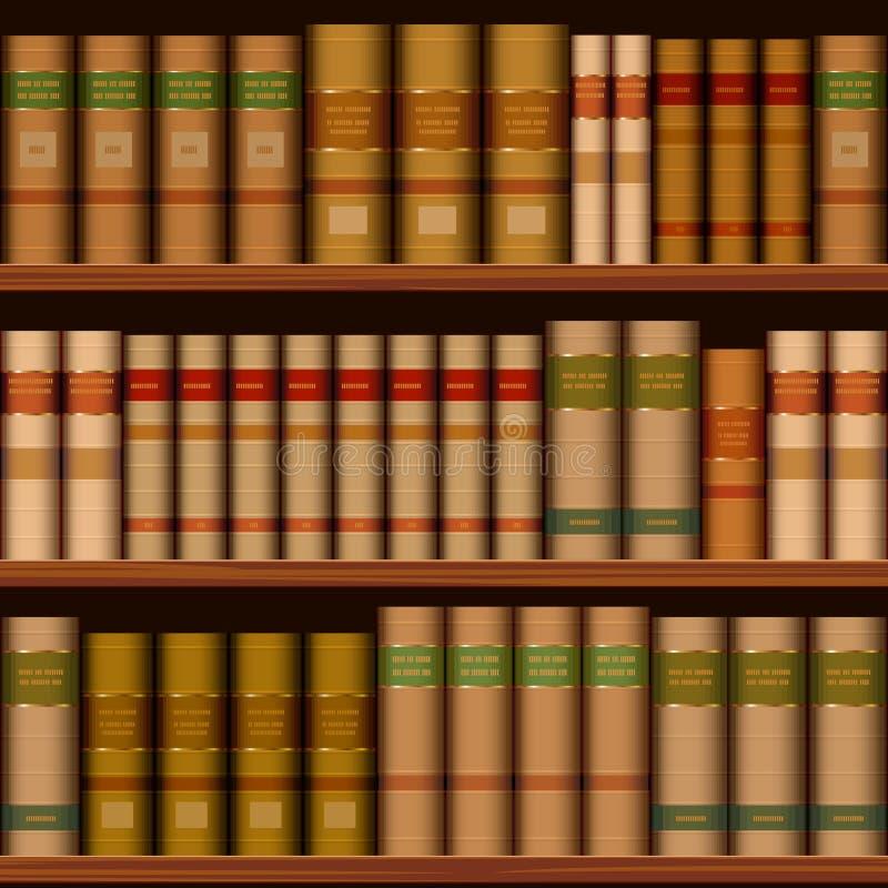 Scaffali senza cuciture delle biblioteche con i vecchi libri illustrazione di stock