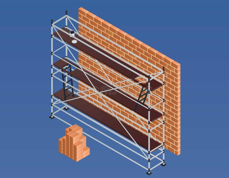 Scaffold brick wall banner, isometric style stock illustration