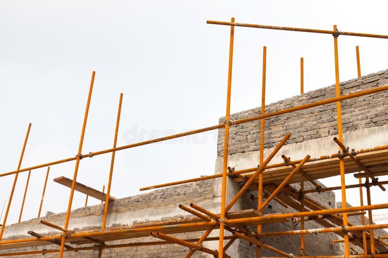 Scaffold in construction site royalty free stock image