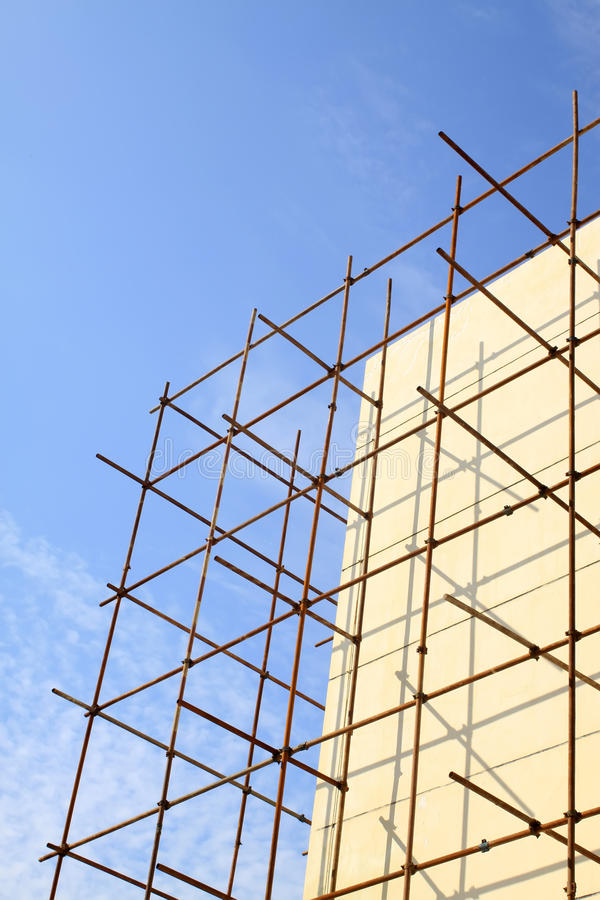 Scaffold in construction site. Closeup of scaffold in construction site royalty free stock images