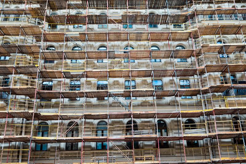 Scaffold on historical building stock photo