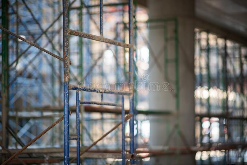 scaffold KonstruktionsScaffoldings Det anv royaltyfri fotografi
