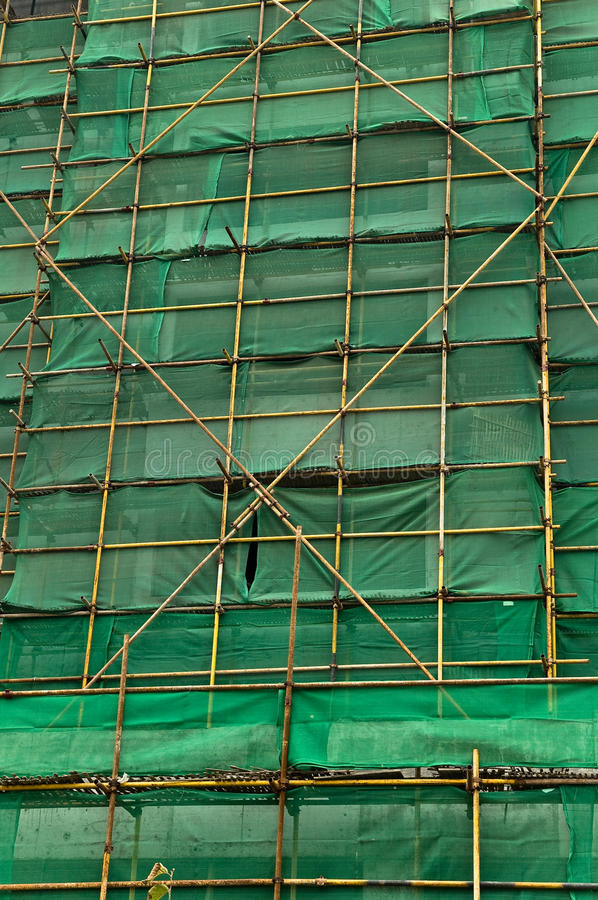 Free Scaffolding And Green Netting Abstract Backgground Stock Image - 12113111