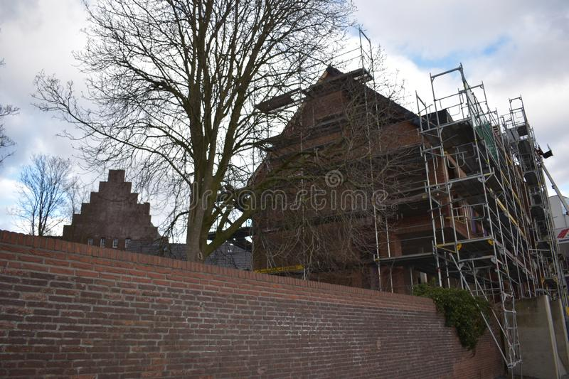 Scaffolding around a building royalty free stock photo