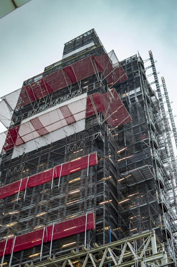 The scaffolding of big ben as it is under repair in london royalty free stock photos