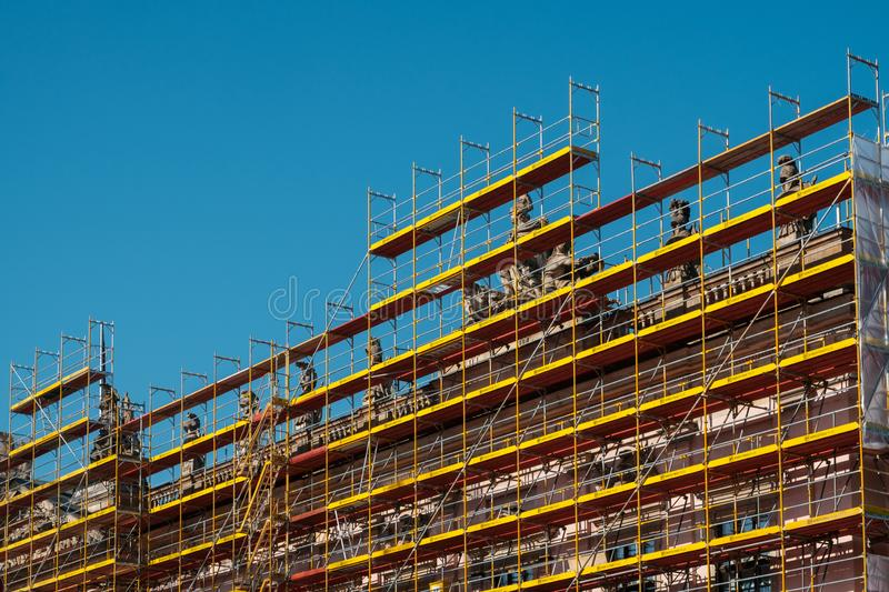 Scaffolding on building facade of the German Historic MuseumD royalty free stock image