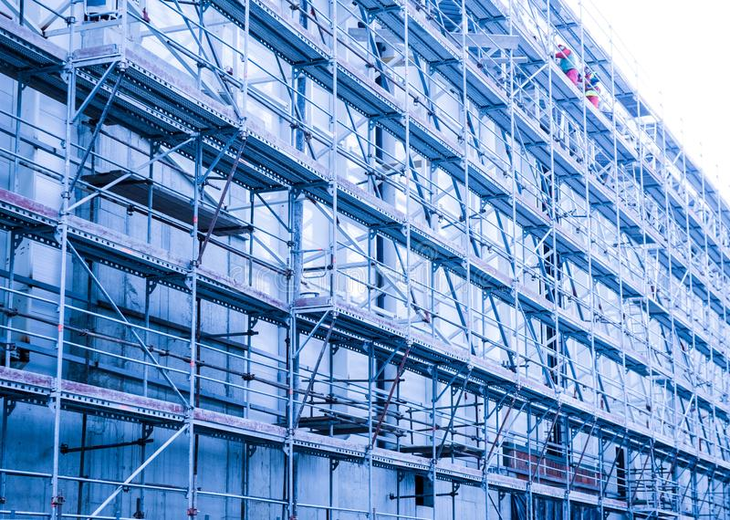 Scaffolding on a building site stock photos