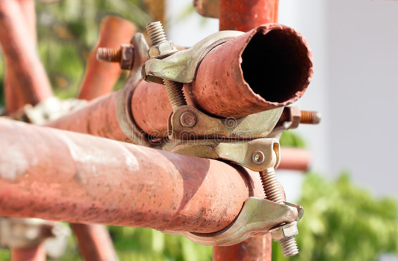 Scaffolding clamp. Photo close up stock images