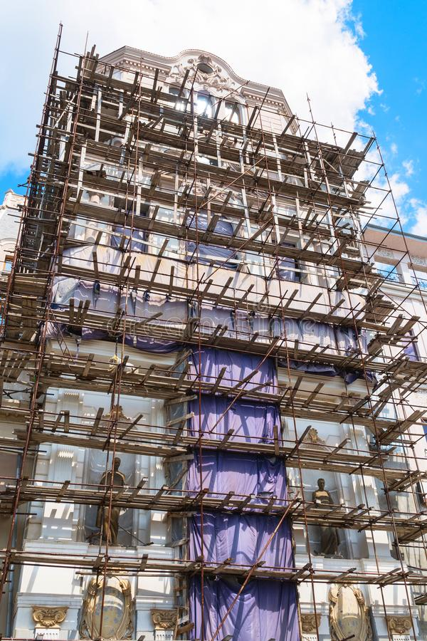 Scaffolding on the facade of beautiful building stock photography