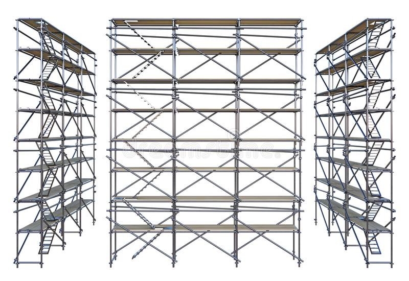 Scaffolding isolated on white. Group scaffolding isolated on white. 3d rendering royalty free illustration