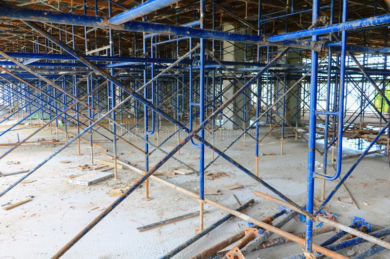 Scaffolding steel in work construction site building.  royalty free stock images