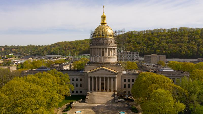 Scaffolding Surrounds the Capital Dome in Charleston West Virginia. The State Capital of West Virginia get some refurbishing spring of 2019 royalty free stock photo